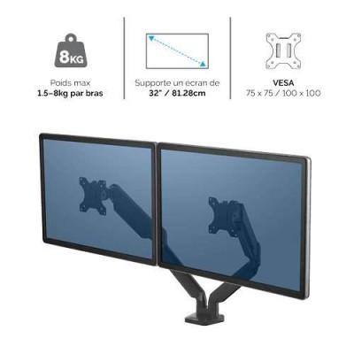 Bras porte-écrans double Fellowes Platinum Series Noir 8042501 - 2