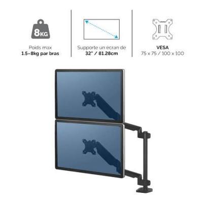 Bras porte-écrans double vertical Fellowes Platinum Series Noir 8042601 - 2
