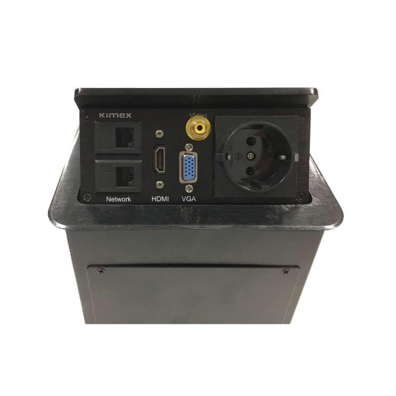 Boîtier de table encastrable 2xRJ45, VGA, HDMI, VIDEO, Prise 220V,  Noir - 1