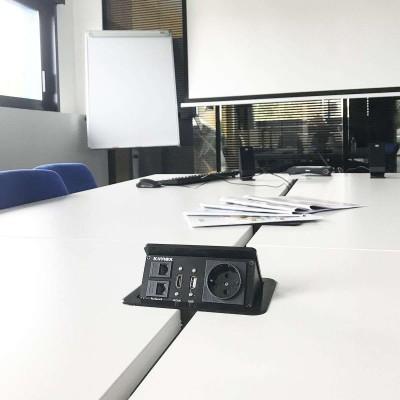 Boîtier de table encastrable 2xRJ45, VGA, HDMI, VIDEO, Prise 220V,  Noir - 2