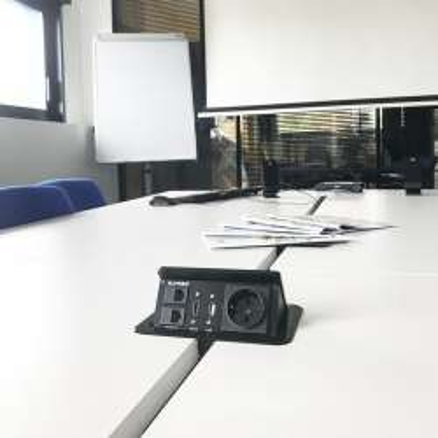 Boîtier de table encastrable 2xRJ45, VGA, HDMI, VIDEO, Prise 220V,  Gris - 2