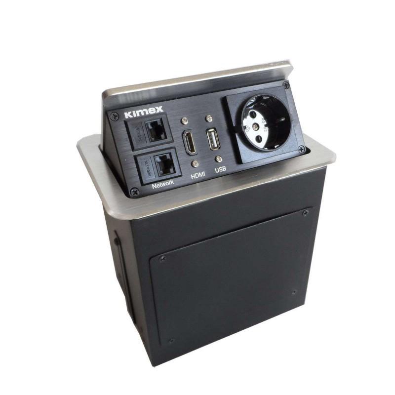 Boîtier de table encastrable 2xRJ45, USB 2.0, HDMI, Prise 220V, Gris - 1