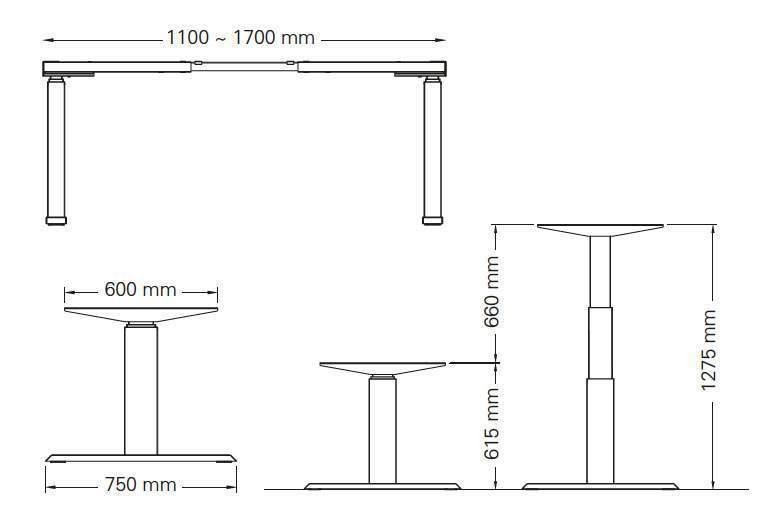 detail technique bureau assis debout sls 270